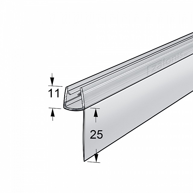 h SHAPED SHOWER SEAL FOR 6-8mm GLASS / LONG FIN